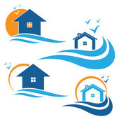 Illustration of houses and waves. Vector — Stock Vector