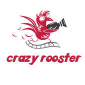 Illustration of crazy rooster. Vector — Stock Vector