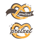 Illustration of pretzel label with text. vector — Stock Vector
