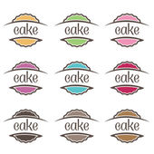 Illustration of cakes label. Vector — Vettoriale Stock