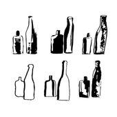 Illustration of hand drawn bottles. vector — Stock Vector