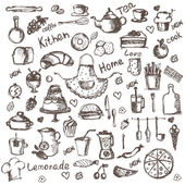 Illustration set of hand drawing kitchen and food icons. Vector — Vector de stock