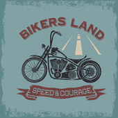 Grunge vintage poster bikers land with motorbike — Vettoriale Stock