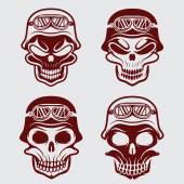 Skull in helmet set, biker theme vector design template — Stock Vector