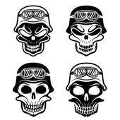 Skull in helmet set, biker theme vector design template — Vector de stock
