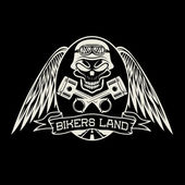 Bikers land crest with skull,wings and pistons — 图库矢量图片