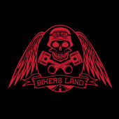 Bikers land crest with skull,wings and pistons — Stock Vector