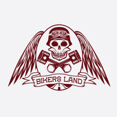 Bikers land crest with skull,wings and pistons — Vector de stock