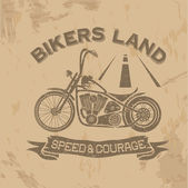 Grunge vintage poster bikers land with motorbike — Stock Vector