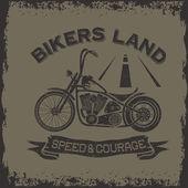 Grunge vintage poster bikers land with motorbike — Stock Vector