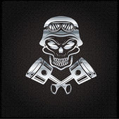 Silver biker theme design template with pistons and skull in hel — Stockvector