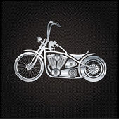 Vintage silver motorcycle on metal background — Stock Vector