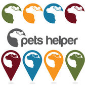 Pets helper vector design template ,pins and web icons set — Vector de stock