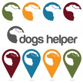 Dogs helper vector design template ,pins and web icons set — Stock Vector