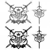 鹰与冠和剑脊集合 — 图库矢量图片