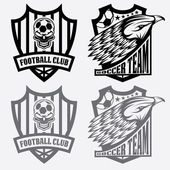 Football team crest set with eagle and skull — Stock Vector