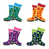 Set of colorful gumboots  — Stock Vector