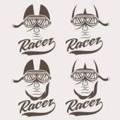 Vintage illustration set of racer head — Vecteur