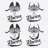 Vintage illustration set of racer head — Stock Vector