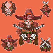 Skull in a Mexican sombrero with chili peppers,flowers and guns — Stock Vector