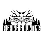 Hunting and fishing vintage emblem vector design template — Vettoriale Stock