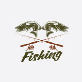 Vintage fishing vector design template — Stock Vector