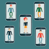 Four guys and girl flat design smartphone application — Vecteur