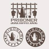 Prisoner coffee concept vector design template — Stock Vector
