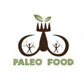 Paleo food illustration with mammoth tusks and cavemans — Stock Vector