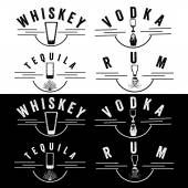 Whiskey,rum,vodka and tequila vintage labels set — Stock Vector