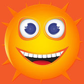 Illustration funny sun smile. Vector — Stock Vector