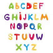 Funny kids colorful alphabet .Vector — Stock Vector