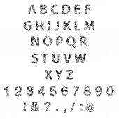 Sketch textured font. Vector — Stock Vector
