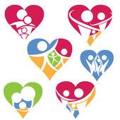 Set of happy family icon in heart .Vector — Stock Vector