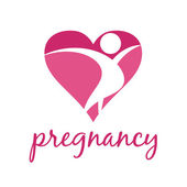 Icon of pregnant women in heart .Vector — Stock vektor