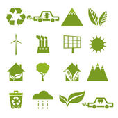 Set of icons of ecology, environment, green energy. Vector — Stock Vector