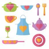 Illustration set flat icon of kitchen. Vector — Stok Vektör