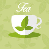 Illustration of cup with leaf tea. vector — Vector de stock