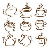 Illustration set icon of cup,teapot,pot.Vector — Stock Vector