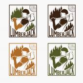 Set of vintage lumberjack labels — Stock Vector