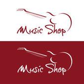 Set of music shop emblems — Stock Vector