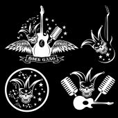Rock gang set with jester skull,wings and guitar — Stock Vector