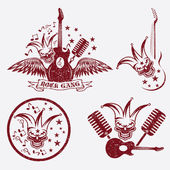 Grunge rock gang set with jester skull,wings and guitar — Stock Vector