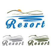 Sketch hills and sea ,emblem of resort — Vector de stock