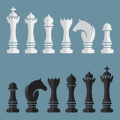 Flat vector set of chess icons — Stock Vector