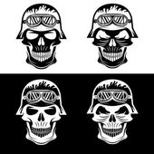 Skull in helmet set, biker theme vector design template — Stock Vector