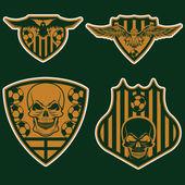 Selección de fútbol de crestas conjunto con águilas y calaveras — Vector de stock