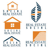Collection of social real estate icons and design elements — Vecteur