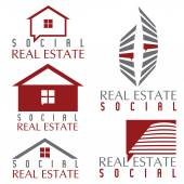 Collection of social real estate icons and design elements — Stok Vektör