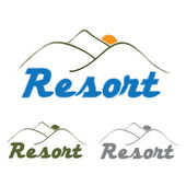 Resort emblem with mountain and sun — Vecteur